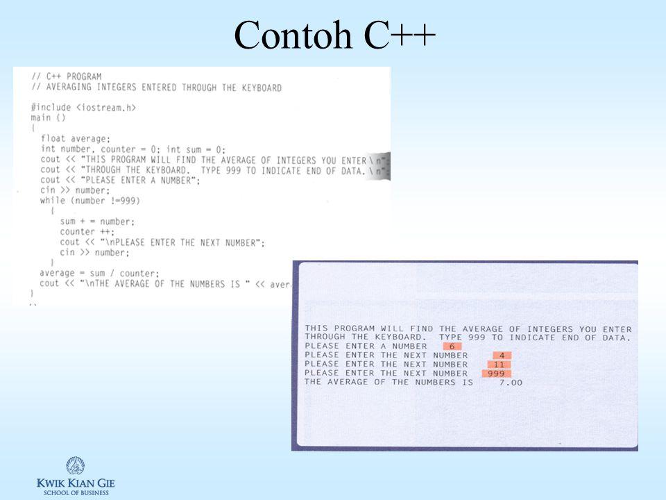 Bahasa Pemrograman Umum Diciptakan oleh Dennis Ritchie di Bell Labs tahun 1972 Awalnya C digunakan untuk membuat System software C++ dikembangkan dengan dukungan OOP Mendukung cross platform