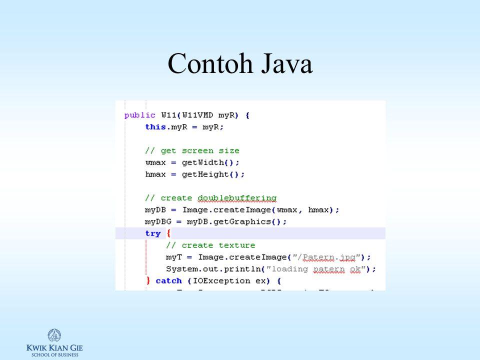 Java Develop by Sun Microsystems Membutuhkan Java Virtual Machine Perbedaan java dengan C++: –Java: compile once, run anywhere –C++: create once, compile anywhere –dapat dijalankan dari platform yang berbeda Source code dirubah menjadi bytecode yang dapat berjalan lansgung di JVM.
