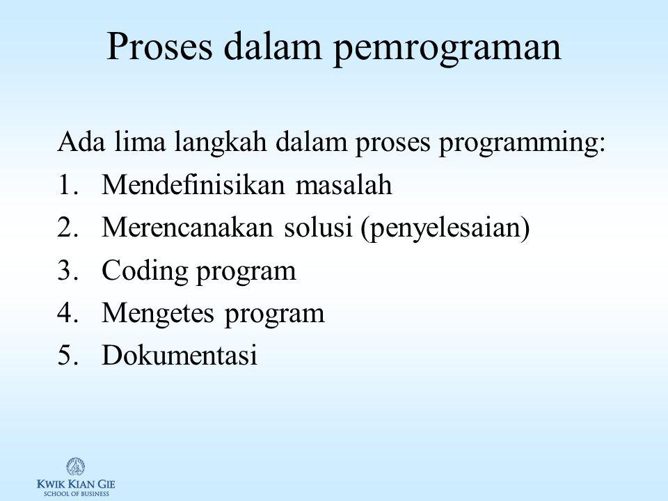 Pemrograman Program: kumpulan suatu intruksi komputer, yang harus dilakukan komputer untuk melakukan/menyelesaikan sesuatu.