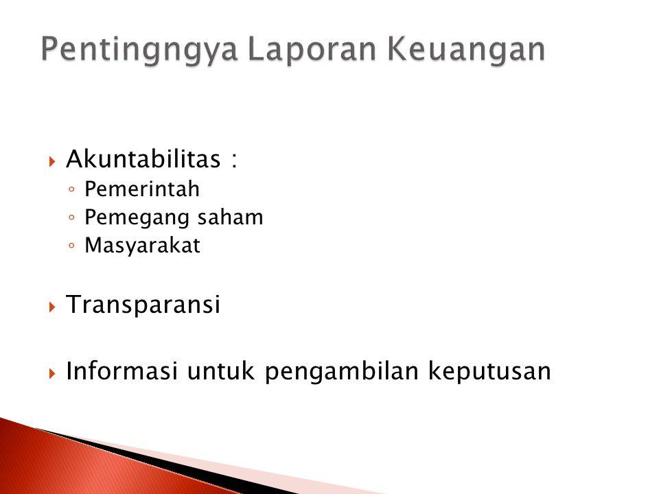  Akuntabilitas : ◦ Pemerintah ◦ Pemegang saham ◦ Masyarakat  Transparansi  Informasi untuk pengambilan keputusan