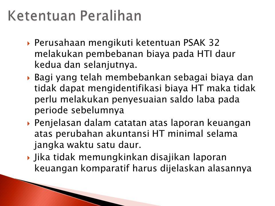  Perusahaan mengikuti ketentuan PSAK 32 melakukan pembebanan biaya pada HTI daur kedua dan selanjutnya.  Bagi yang telah membebankan sebagai biaya d