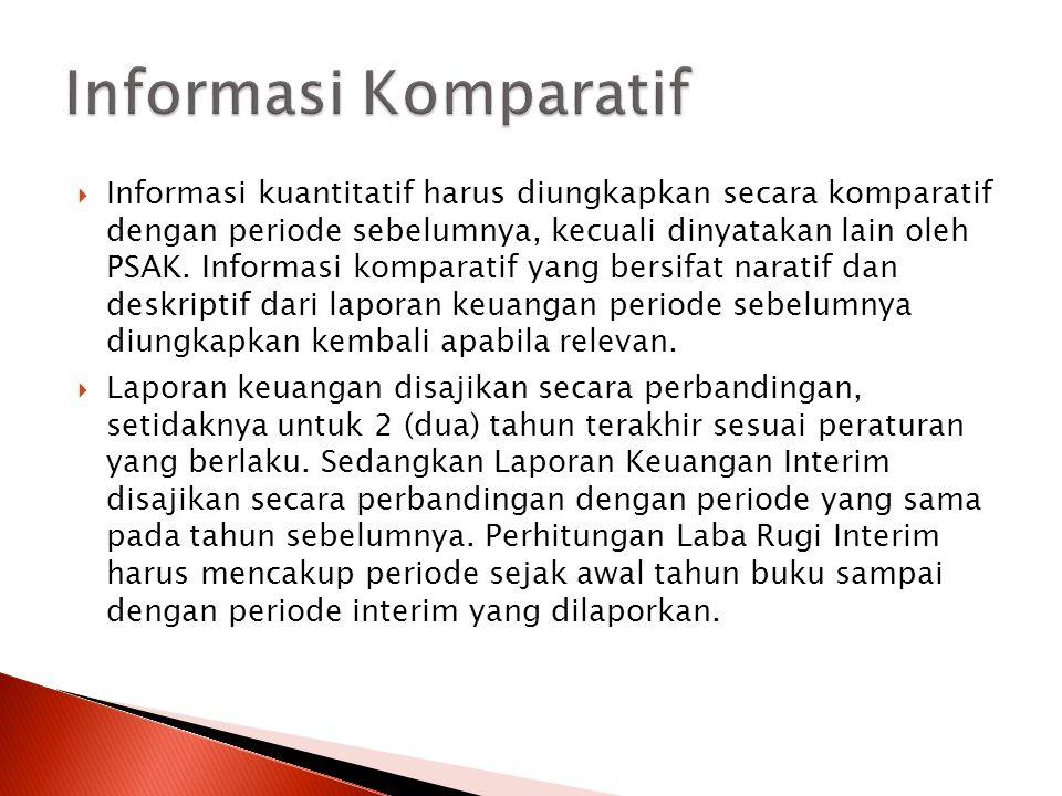  Informasi kuantitatif harus diungkapkan secara komparatif dengan periode sebelumnya, kecuali dinyatakan lain oleh PSAK. Informasi komparatif yang be