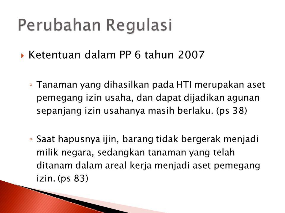 Ketentuan dalam PP 6 tahun 2007 ◦ Tanaman yang dihasilkan pada HTI merupakan aset pemegang izin usaha, dan dapat dijadikan agunan sepanjang izin usa