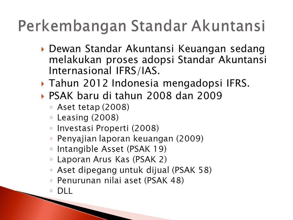  Dewan Standar Akuntansi Keuangan sedang melakukan proses adopsi Standar Akuntansi Internasional IFRS/IAS.  Tahun 2012 Indonesia mengadopsi IFRS. 