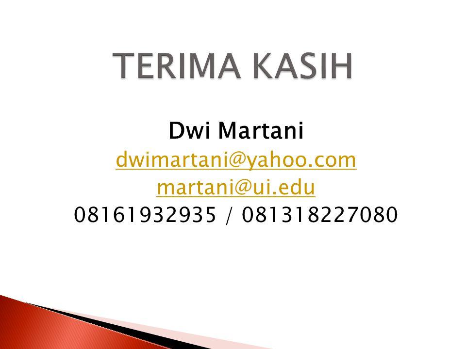 Dwi Martani dwimartani@yahoo.com martani@ui.edu 08161932935 / 081318227080