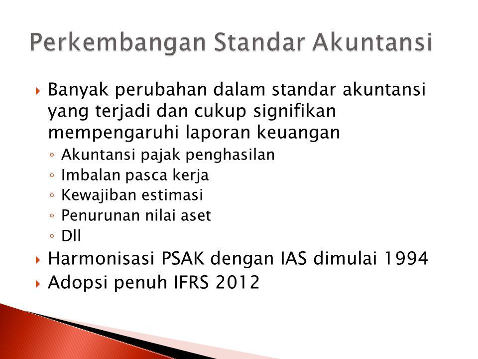  Banyak perubahan dalam standar akuntansi yang terjadi dan cukup signifikan mempengaruhi laporan keuangan ◦ Akuntansi pajak penghasilan ◦ Imbalan pas