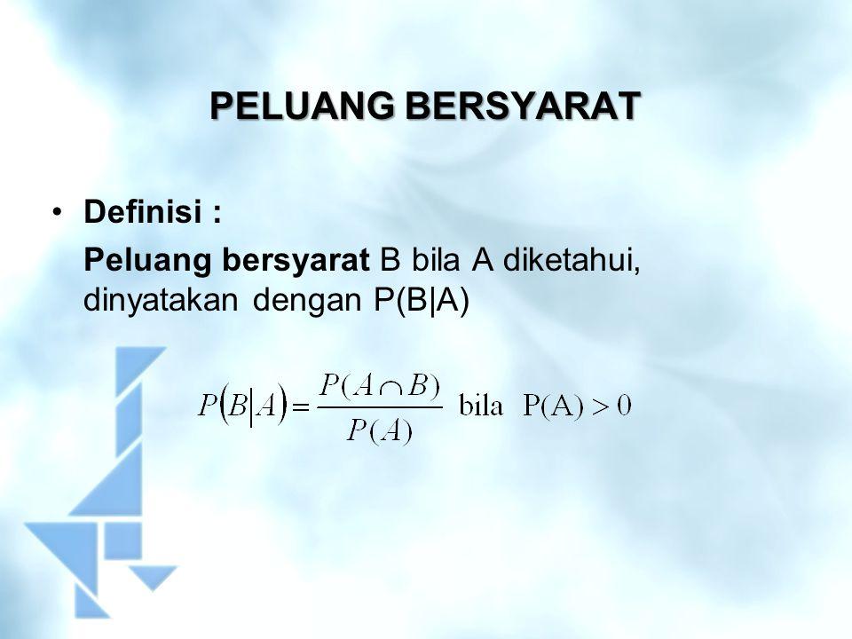 CONTOH SOAL Suatu penerbangan yang telah terjadwal : Peluang berangkat tepat waktu P(B) = 0,83 Peluang sampai tepat waktu P(S) = 0,82 Peluang berangkat dan sampai tepat waktu P(B∩S) = 0,78.