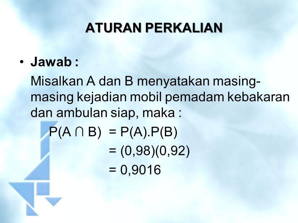 ATURAN PERKALIAN Jawab : Misalkan A dan B menyatakan masing- masing kejadian mobil pemadam kebakaran dan ambulan siap, maka : P(A ∩ B)= P(A).P(B) = (0