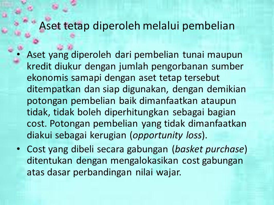 Aset tetap diperoleh melalui pembelian Aset yang diperoleh dari pembelian tunai maupun kredit diukur dengan jumlah pengorbanan sumber ekonomis samapi