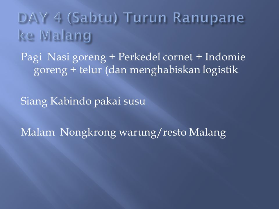 Pagi Nasi goreng + Perkedel cornet + Indomie goreng + telur (dan menghabiskan logistik Siang Kabindo pakai susu Malam Nongkrong warung/resto Malang