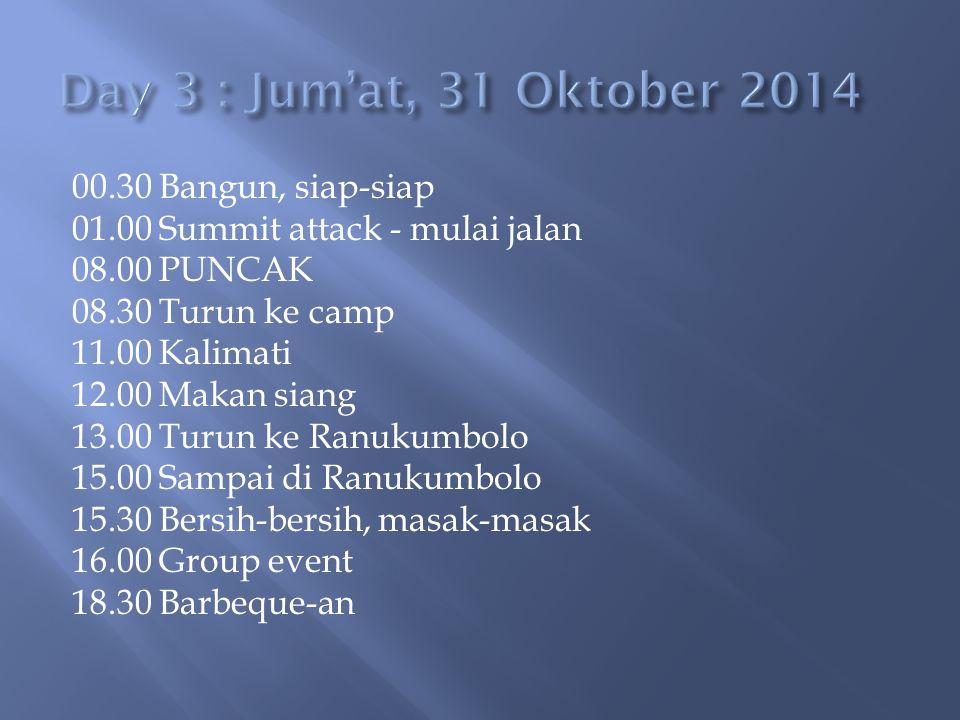 00.30 Bangun, siap-siap 01.00 Summit attack - mulai jalan 08.00 PUNCAK 08.30 Turun ke camp 11.00 Kalimati 12.00 Makan siang 13.00 Turun ke Ranukumbolo 15.00 Sampai di Ranukumbolo 15.30 Bersih-bersih, masak-masak 16.00 Group event 18.30 Barbeque-an