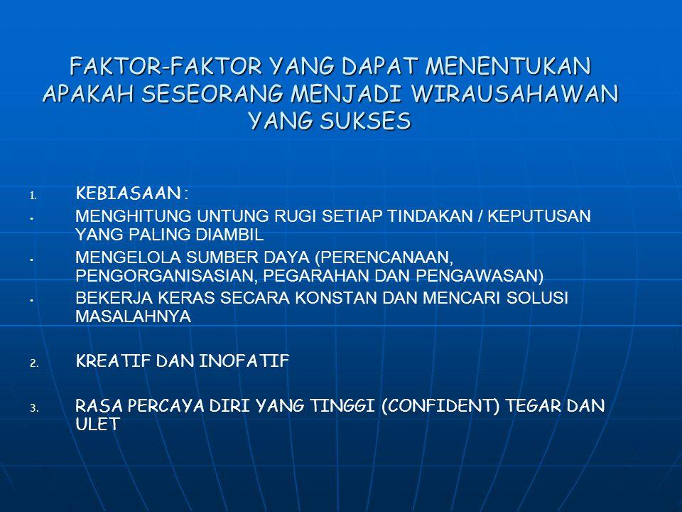FAKTOR-FAKTOR YANG DAPAT MENENTUKAN APAKAH SESEORANG MENJADI WIRAUSAHAWAN YANG SUKSES 1. 1. KEBIASAAN : MENGHITUNG UNTUNG RUGI SETIAP TINDAKAN / KEPUT