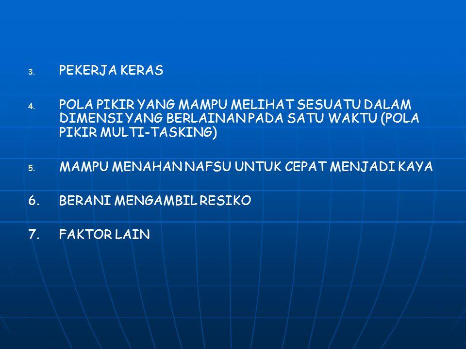 3. 3. PEKERJA KERAS 4. 4. POLA PIKIR YANG MAMPU MELIHAT SESUATU DALAM DIMENSI YANG BERLAINAN PADA SATU WAKTU (POLA PIKIR MULTI-TASKING) 5. 5. MAMPU ME