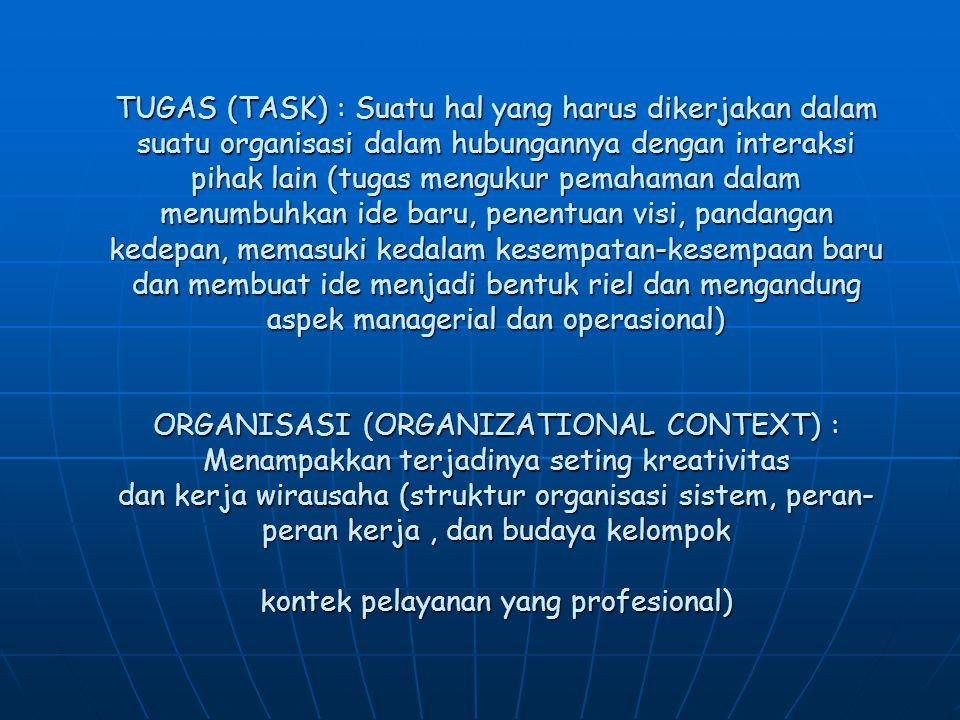 TUGAS (TASK) : Suatu hal yang harus dikerjakan dalam suatu organisasi dalam hubungannya dengan interaksi pihak lain (tugas mengukur pemahaman dalam me