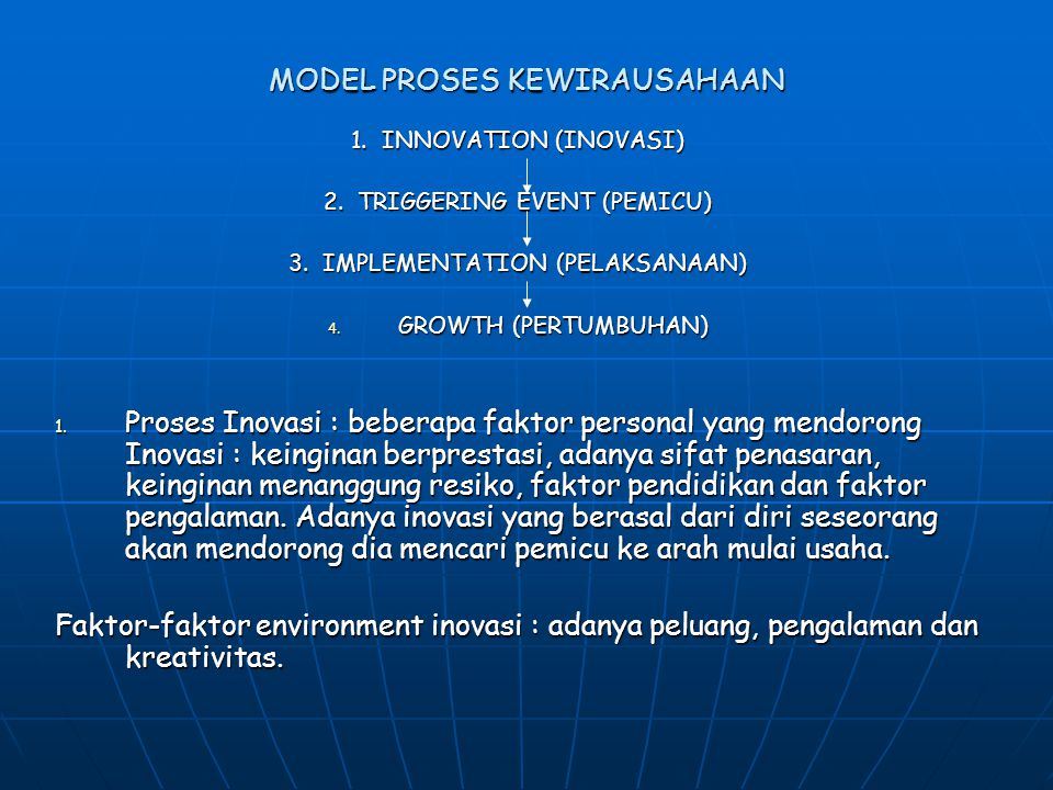 MODEL PROSES KEWIRAUSAHAAN 1.INNOVATION (INOVASI) 2.
