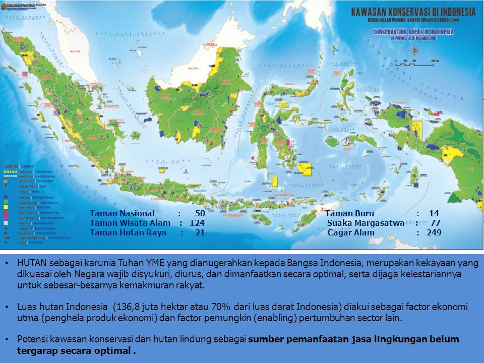 HUTAN sebagai karunia Tuhan YME yang dianugerahkan kepada Bangsa Indonesia, merupakan kekayaan yang dikuasai oleh Negara wajib disyukuri, diurus, dan