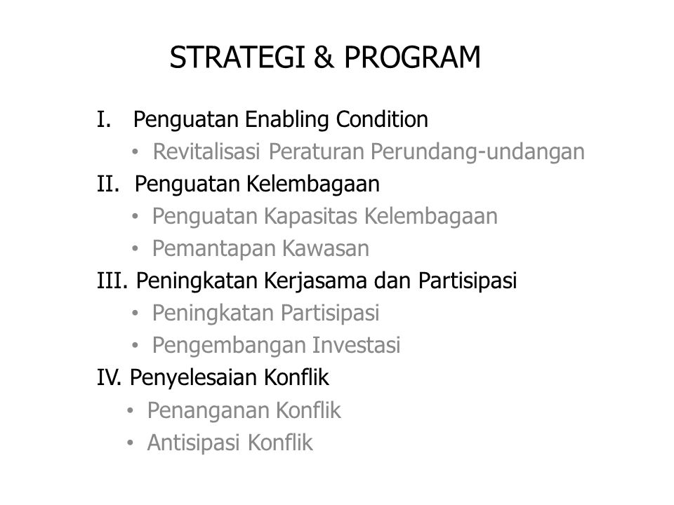 STRATEGI & PROGRAM I. Penguatan Enabling Condition Revitalisasi Peraturan Perundang-undangan II. Penguatan Kelembagaan Penguatan Kapasitas Kelembagaan