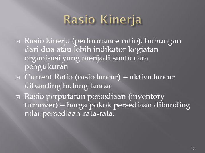  Rasio kinerja (performance ratio): hubungan dari dua atau lebih indikator kegiatan organisasi yang menjadi suatu cara pengukuran  Current Ratio (ra