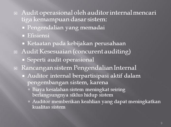  Audit operasional oleh auditor internal mencari tiga kemampuan dasar sistem:  Pengendalian yang memadai  Efisiensi  Ketaatan pada kebijakan perus