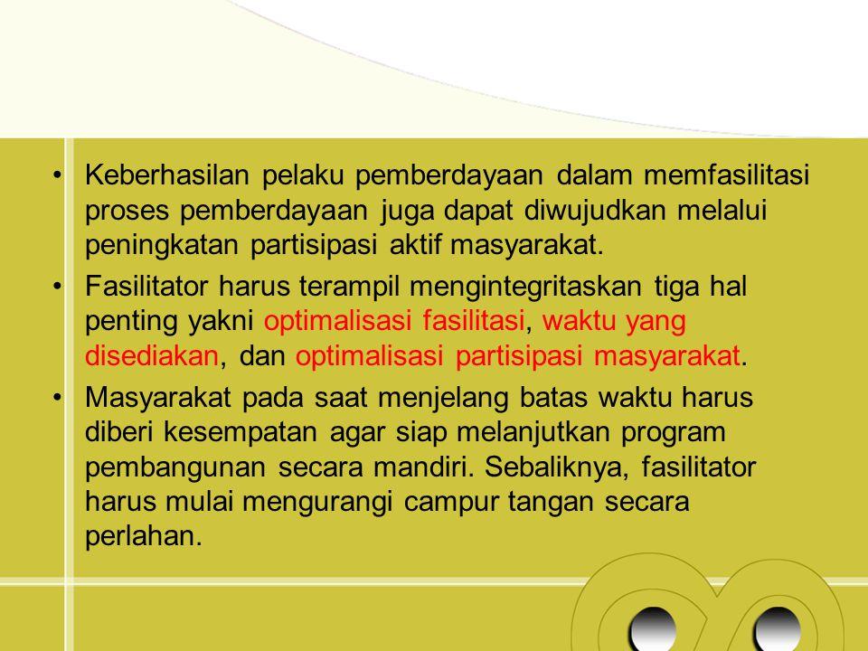 Keberhasilan pelaku pemberdayaan dalam memfasilitasi proses pemberdayaan juga dapat diwujudkan melalui peningkatan partisipasi aktif masyarakat. Fasil
