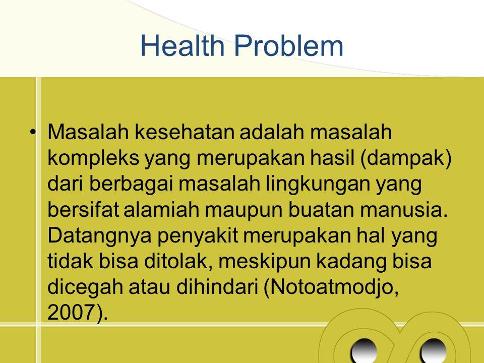 Health Problem Masalah kesehatan adalah masalah kompleks yang merupakan hasil (dampak) dari berbagai masalah lingkungan yang bersifat alamiah maupun b