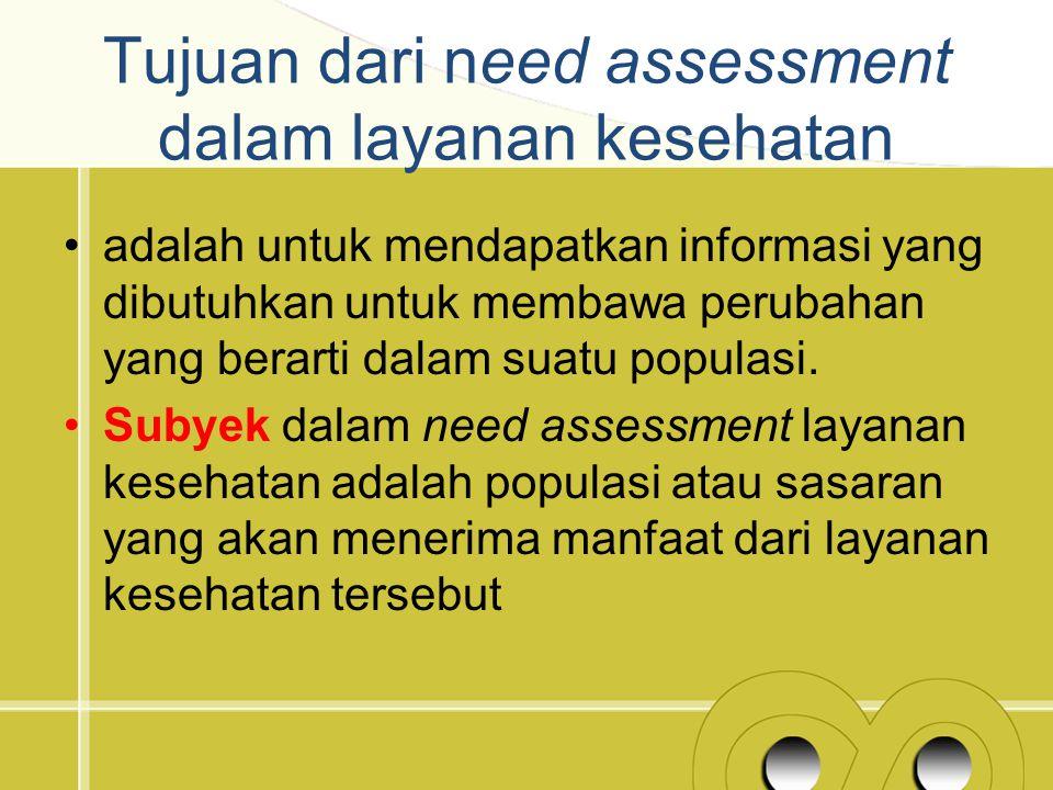 Tujuan dari need assessment dalam layanan kesehatan adalah untuk mendapatkan informasi yang dibutuhkan untuk membawa perubahan yang berarti dalam suat