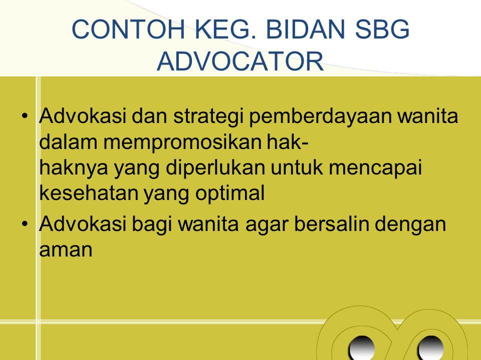 CONTOH KEG. BIDAN SBG ADVOCATOR Advokasi dan strategi pemberdayaan wanita dalam mempromosikan hak- haknya yang diperlukan untuk mencapai kesehatan yan