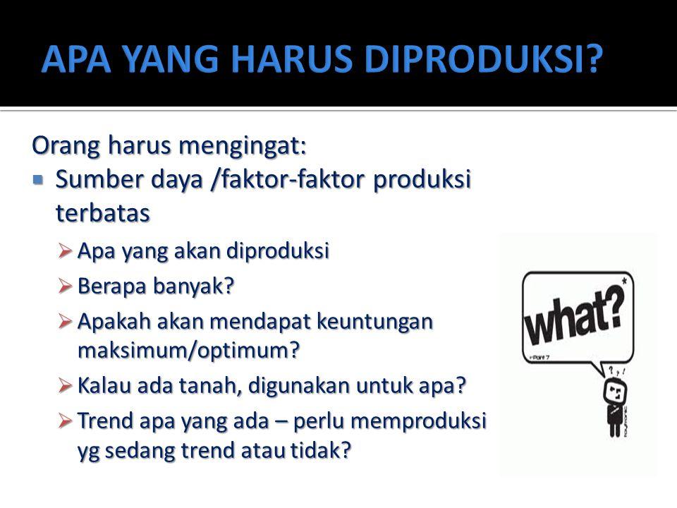 Orang harus mengingat:  Sumber daya /faktor-faktor produksi terbatas  Apa yang akan diproduksi  Berapa banyak?  Apakah akan mendapat keuntungan ma