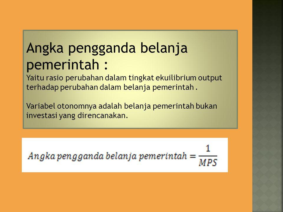Angka pengganda belanja pemerintah : Yaitu rasio perubahan dalam tingkat ekuilibrium output terhadap perubahan dalam belanja pemerintah. Variabel oton