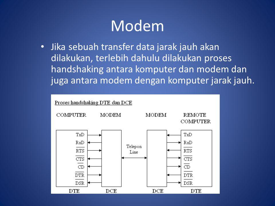 Modem Jika sebuah transfer data jarak jauh akan dilakukan, terlebih dahulu dilakukan proses handshaking antara komputer dan modem dan juga antara mode