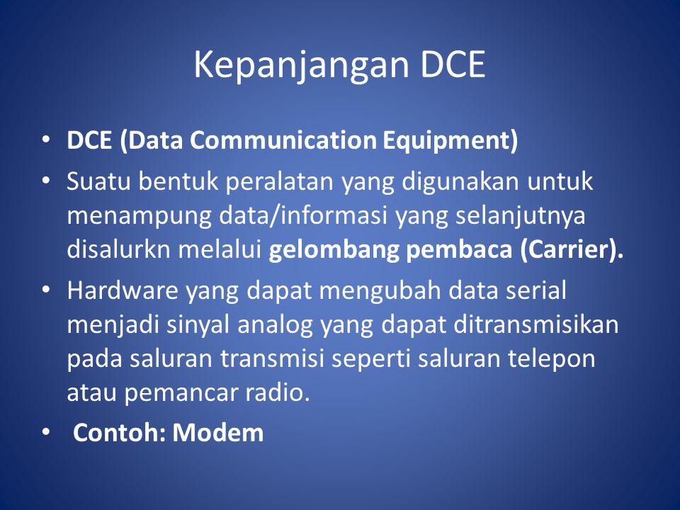 Kepanjangan DCE DCE (Data Communication Equipment) Suatu bentuk peralatan yang digunakan untuk menampung data/informasi yang selanjutnya disalurkn mel