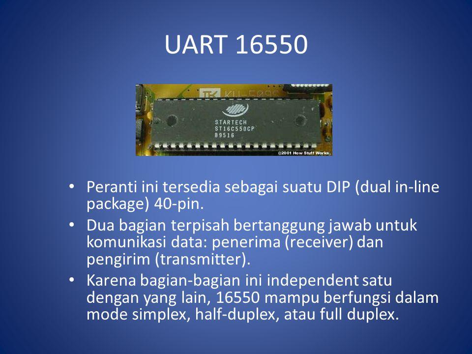 UART 16550 Peranti ini tersedia sebagai suatu DIP (dual in-line package) 40-pin. Dua bagian terpisah bertanggung jawab untuk komunikasi data: penerima