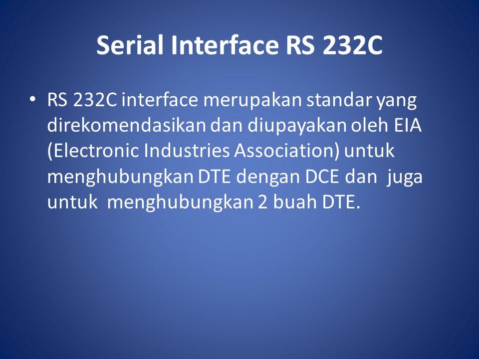 Serial Interface RS 232C RS 232C interface merupakan standar yang direkomendasikan dan diupayakan oleh EIA (Electronic Industries Association) untuk m