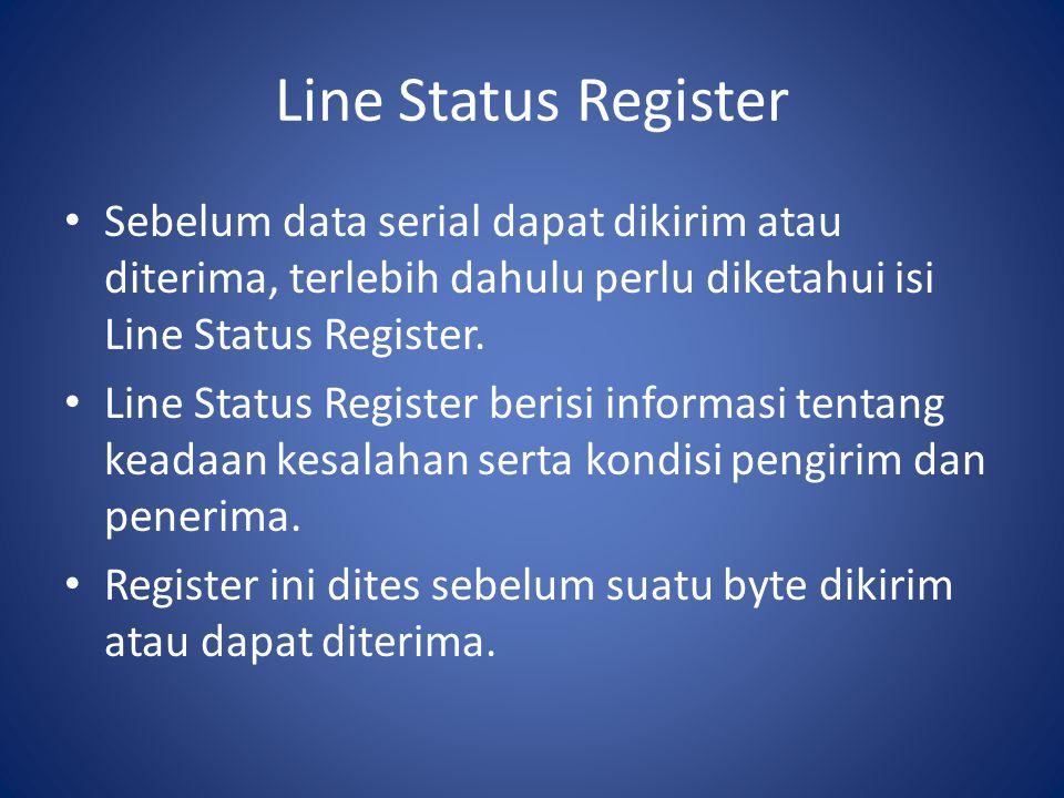 Line Status Register Sebelum data serial dapat dikirim atau diterima, terlebih dahulu perlu diketahui isi Line Status Register. Line Status Register b
