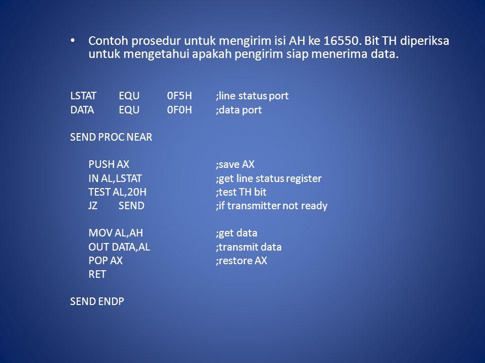 Contoh prosedur untuk mengirim isi AH ke 16550. Bit TH diperiksa untuk mengetahui apakah pengirim siap menerima data. LSTATEQU0F5H;line status port DA