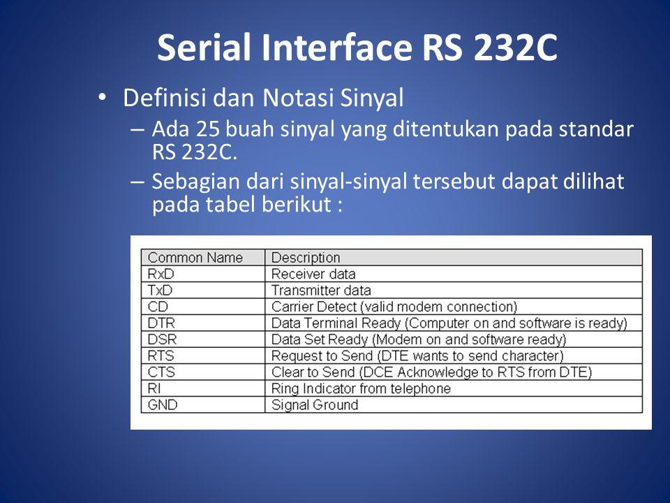 Serial Interface RS 232C Definisi dan Notasi Sinyal – Ada 25 buah sinyal yang ditentukan pada standar RS 232C. – Sebagian dari sinyal-sinyal tersebut