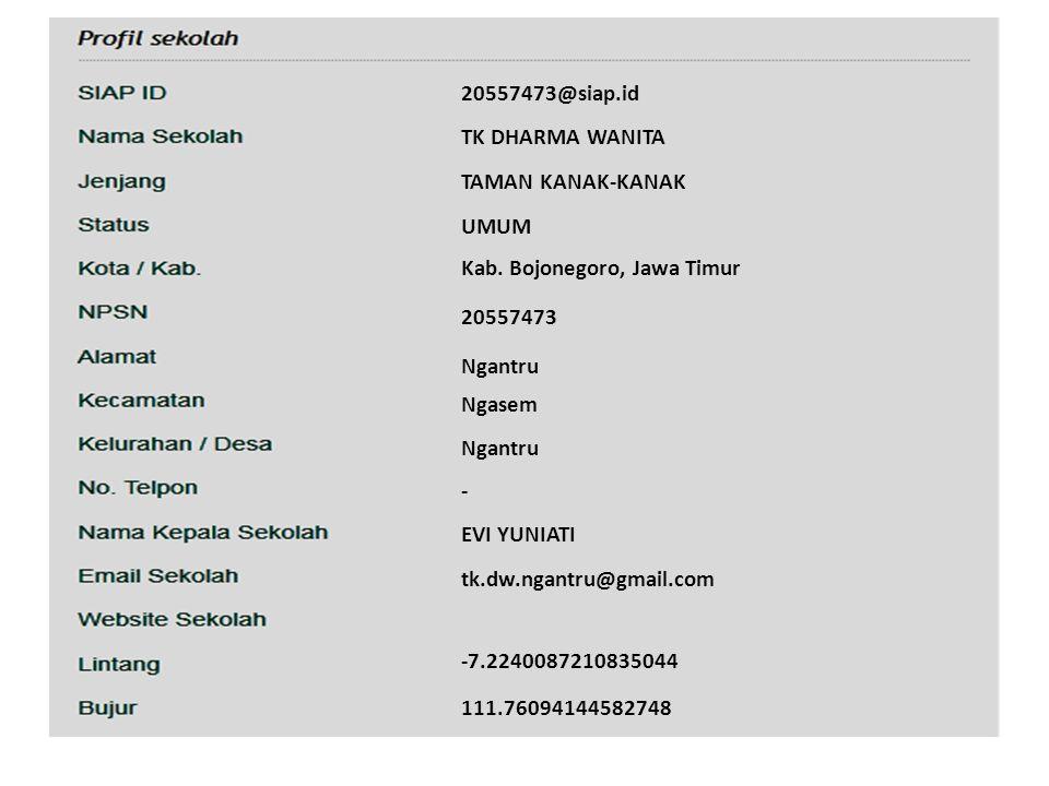 20557473@siap.id TK DHARMA WANITA TAMAN KANAK-KANAK UMUM Kab. Bojonegoro, Jawa Timur 20557473 Ngantru Ngasem Ngantru - EVI YUNIATI tk.dw.ngantru@gmail