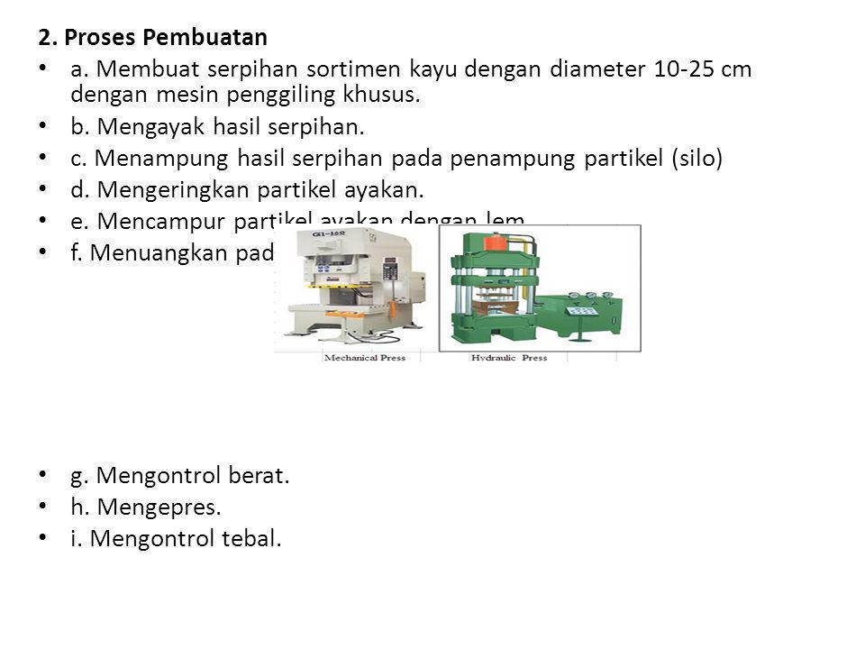 2. Proses Pembuatan a. Membuat serpihan sortimen kayu dengan diameter 10-25 cm dengan mesin penggiling khusus. b. Mengayak hasil serpihan. c. Menampun