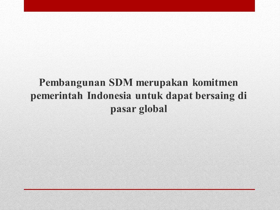 Pembangunan SDM merupakan komitmen pemerintah Indonesia untuk dapat bersaing di pasar global