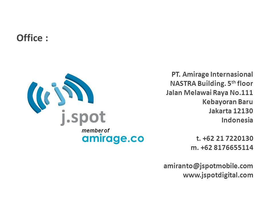 Office : PT. Amirage Internasional NASTRA Building.