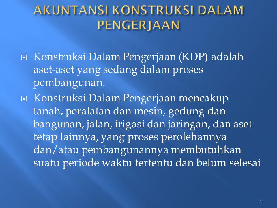  Konstruksi Dalam Pengerjaan (KDP) adalah aset-aset yang sedang dalam proses pembangunan.  Konstruksi Dalam Pengerjaan mencakup tanah, peralatan dan