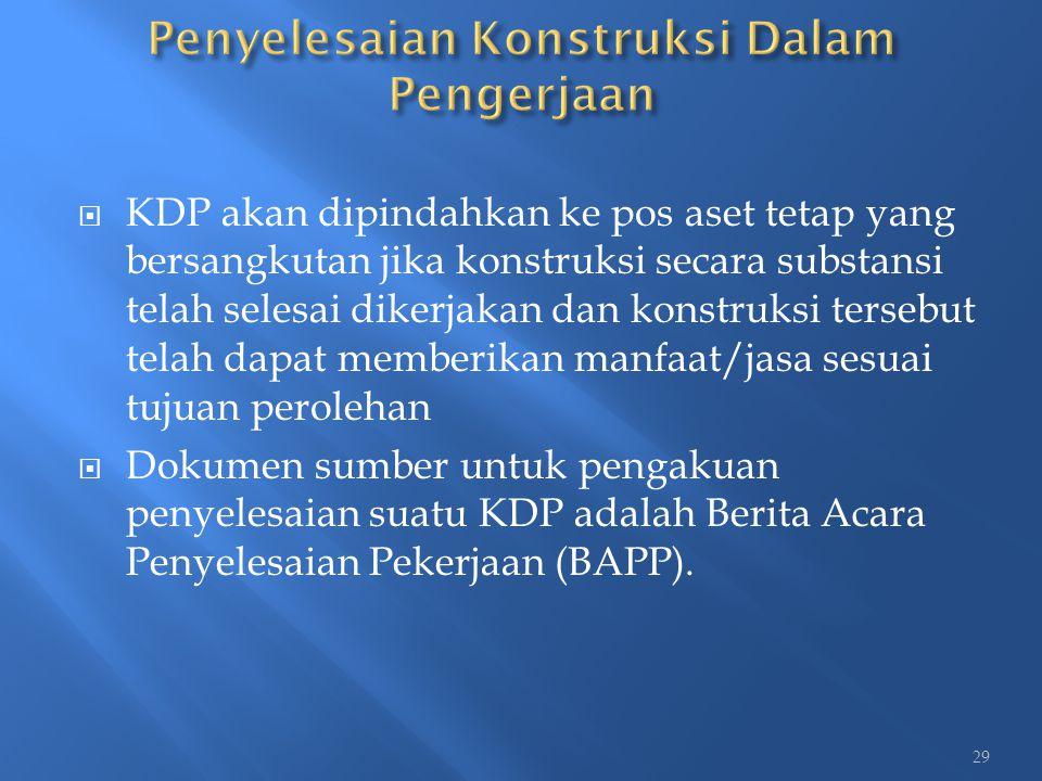 KDP akan dipindahkan ke pos aset tetap yang bersangkutan jika konstruksi secara substansi telah selesai dikerjakan dan konstruksi tersebut telah dap