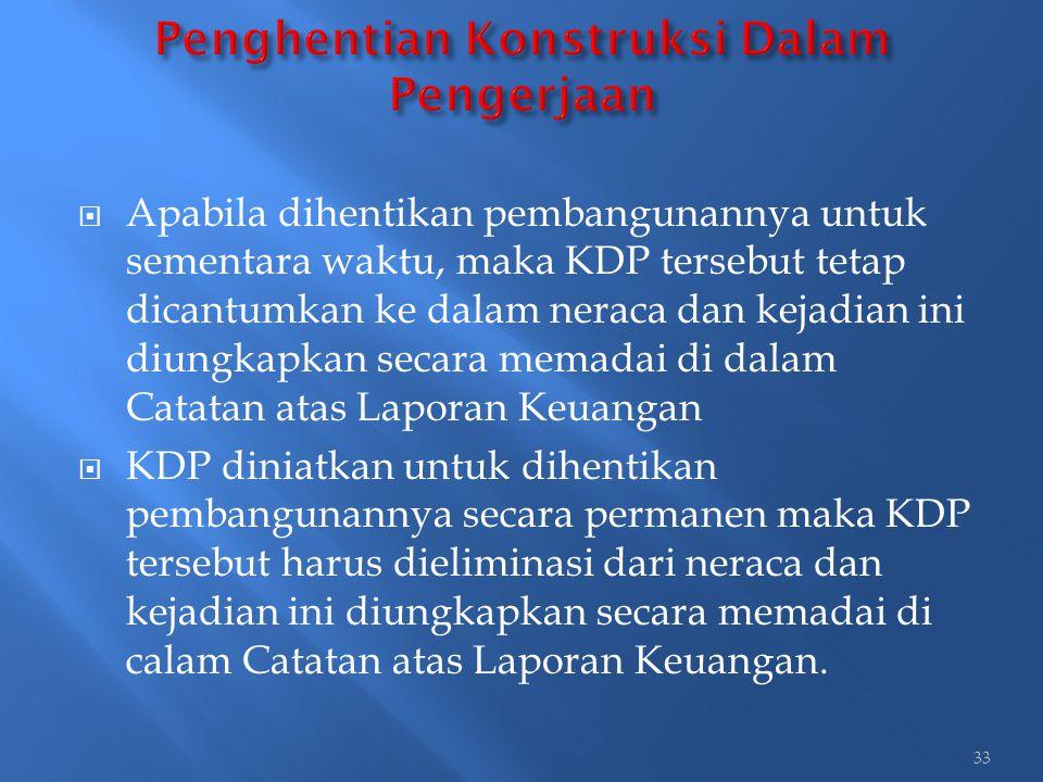  Apabila dihentikan pembangunannya untuk sementara waktu, maka KDP tersebut tetap dicantumkan ke dalam neraca dan kejadian ini diungkapkan secara mem