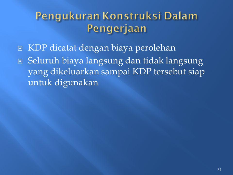  KDP dicatat dengan biaya perolehan  Seluruh biaya langsung dan tidak langsung yang dikeluarkan sampai KDP tersebut siap untuk digunakan 34