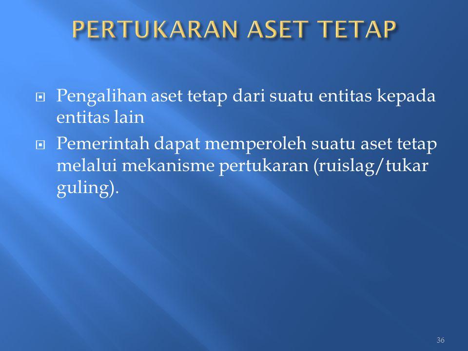  Pengalihan aset tetap dari suatu entitas kepada entitas lain  Pemerintah dapat memperoleh suatu aset tetap melalui mekanisme pertukaran (ruislag/tu