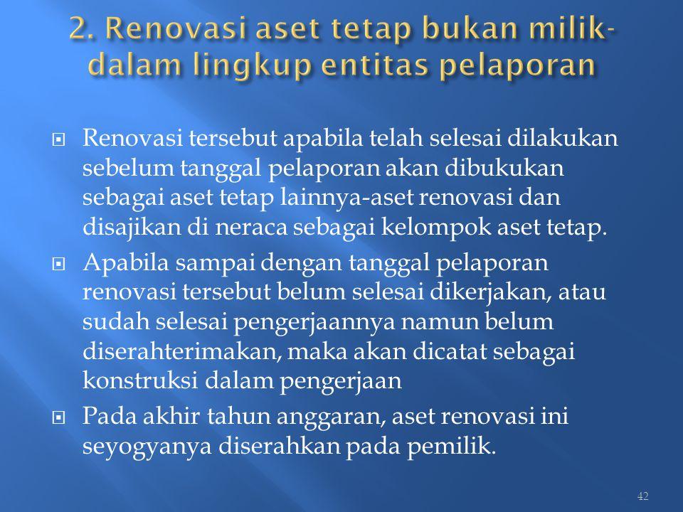  Renovasi tersebut apabila telah selesai dilakukan sebelum tanggal pelaporan akan dibukukan sebagai aset tetap lainnya-aset renovasi dan disajikan di