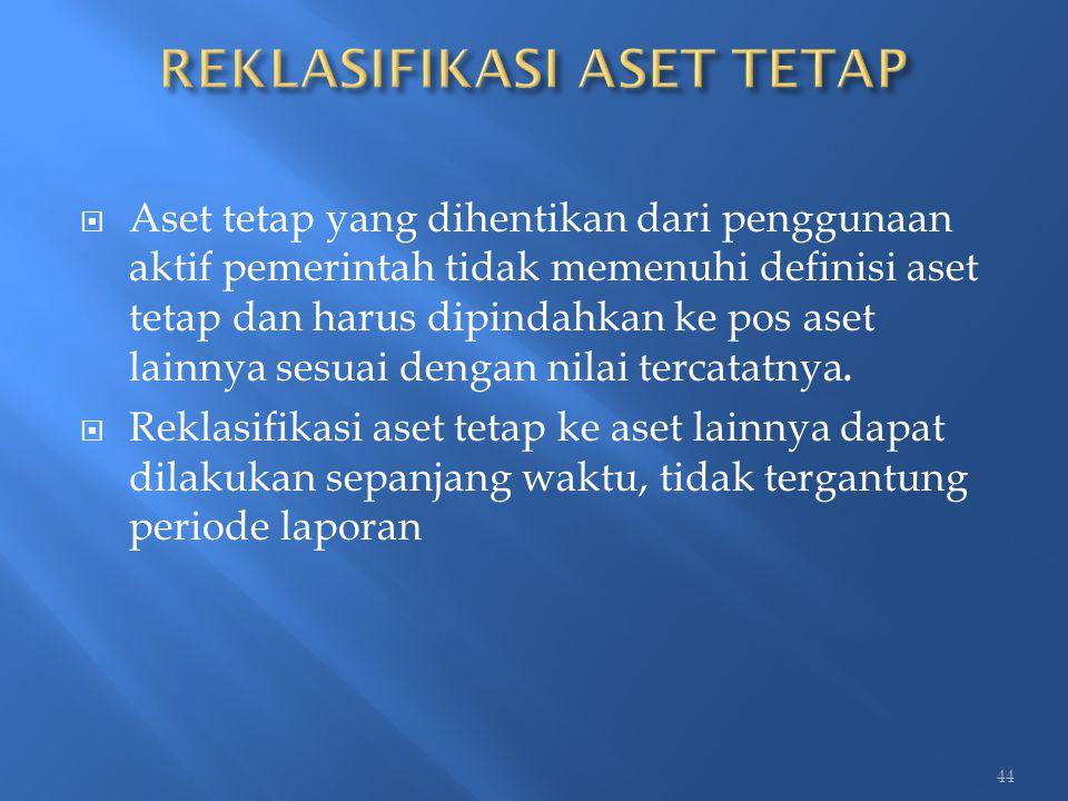  Aset tetap yang dihentikan dari penggunaan aktif pemerintah tidak memenuhi definisi aset tetap dan harus dipindahkan ke pos aset lainnya sesuai deng