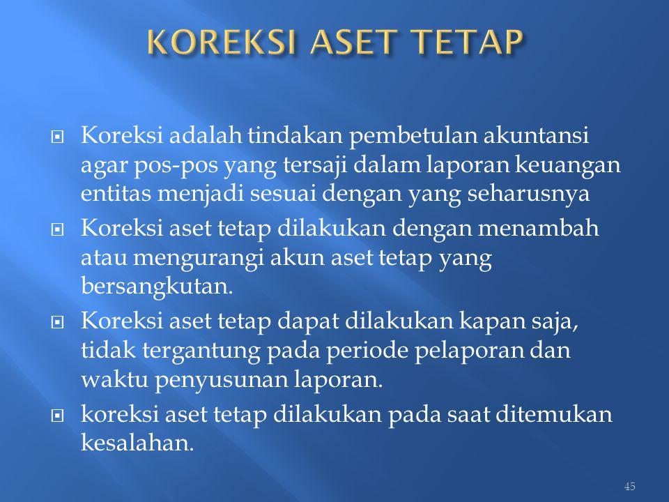  Koreksi adalah tindakan pembetulan akuntansi agar pos-pos yang tersaji dalam laporan keuangan entitas menjadi sesuai dengan yang seharusnya  Koreks