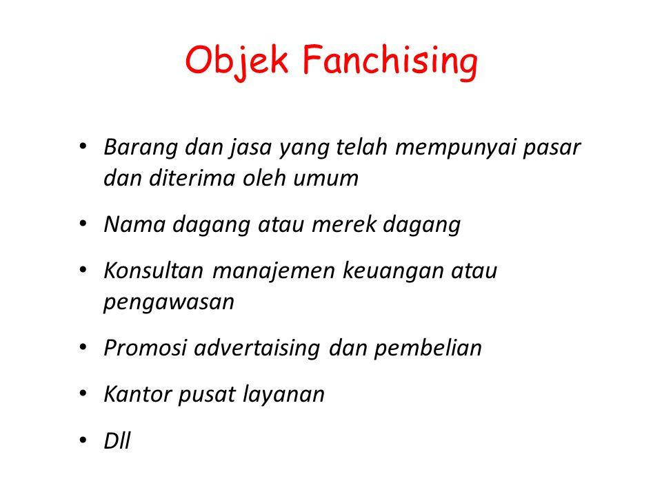 Objek Fanchising Barang dan jasa yang telah mempunyai pasar dan diterima oleh umum Nama dagang atau merek dagang Konsultan manajemen keuangan atau pen