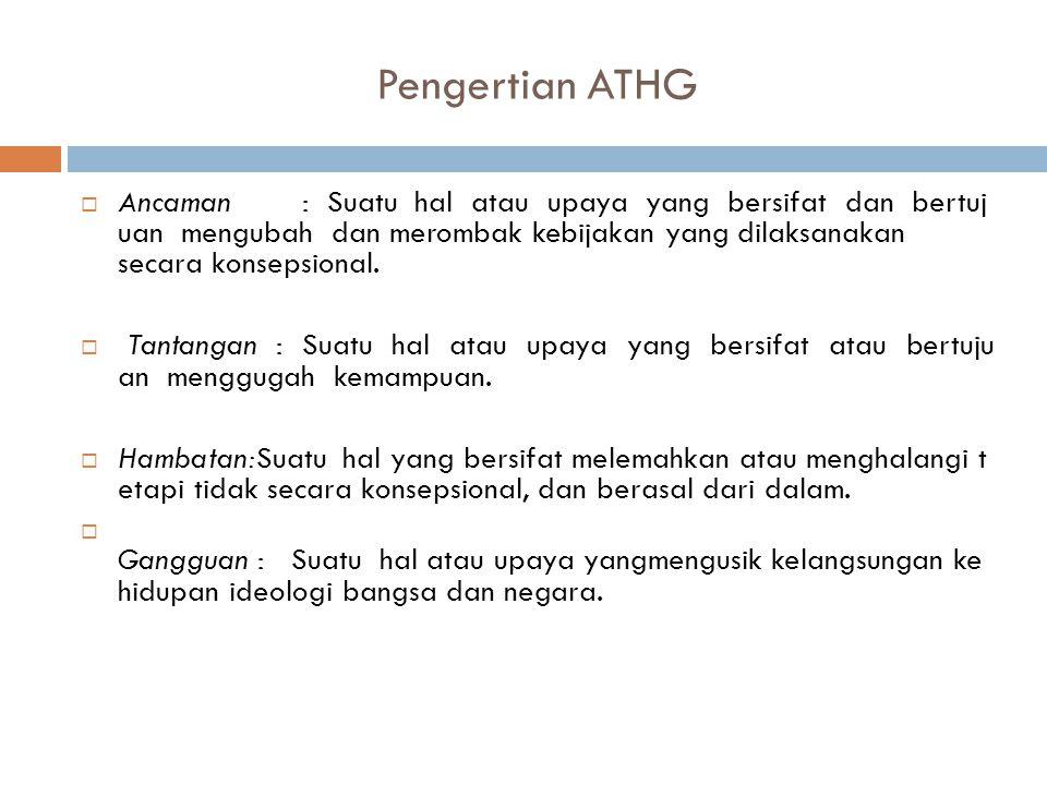 Pengertian ATHG  Ancaman : Suatu hal atau upaya yang bersifat dan bertuj uan mengubah dan merombak kebijakan yang dilaksanakan secara konsepsional.